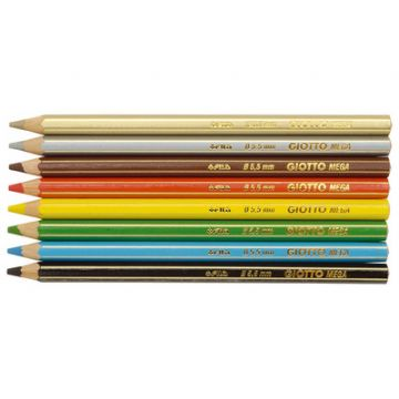 "GIOTTO SUPER JUMBO COLOURING PENCILS - Hexagonal Shape with Large 5.5mm Lead ""Pack of 8"""